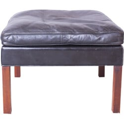 Ottoman in leather and rosewood, Børge MOGENSEN - 1965