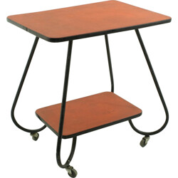Red serving cart in metal - 1950s