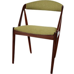 Vintage Danish chair with green fabric, Kai KRISTIANSEN - 1960s
