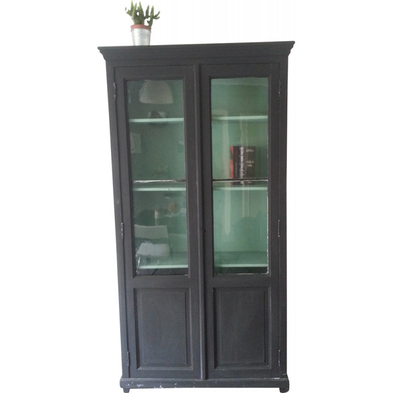 Vintage Bookcase With Glass Doors 1930s