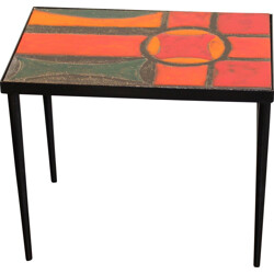 Mid-century lava stone side table, Brothers CLOUTIER - 1950s