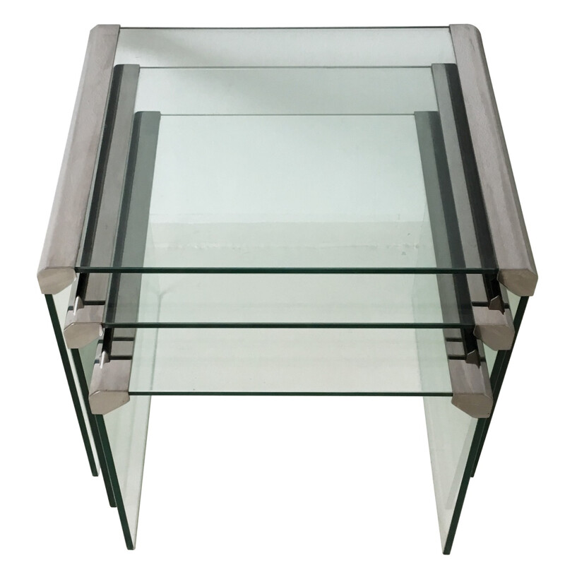 "Set of 3 ""T35"" nesting tables in glass, GALLOTTI & RADICE - 1970s"