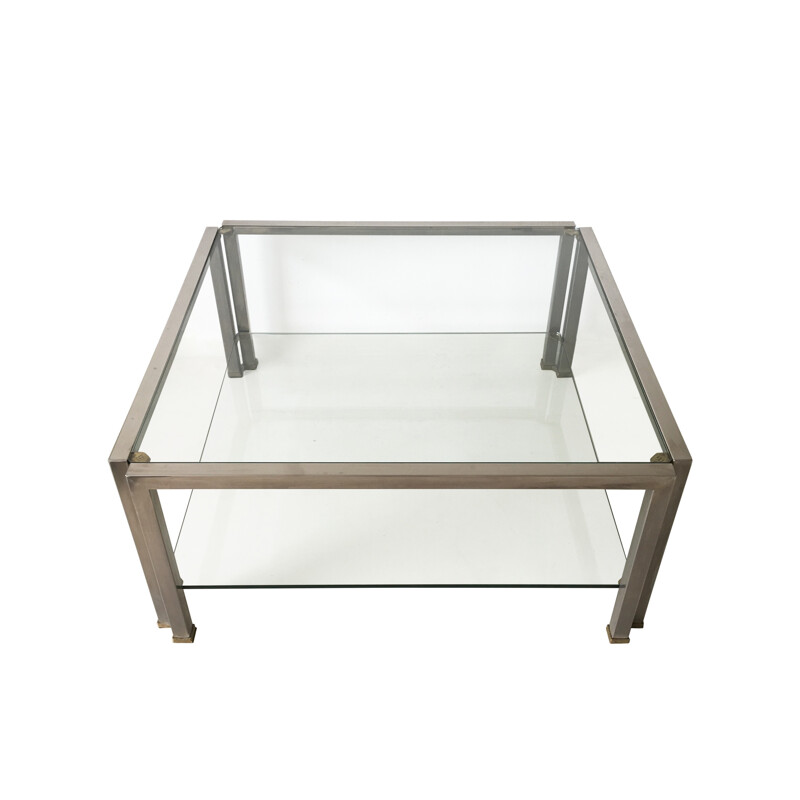 """""""T28D"""" coffee table in glass, Peter GHYCZY - 1980s"""