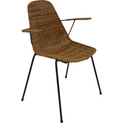 Desk chair with armrests in rattan and metal - 1950s