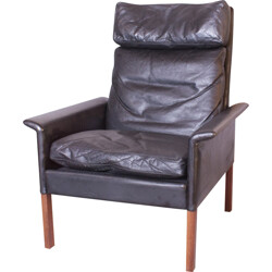 """""""500H"""" lounge armchair in leather, Hans OLSEN - 1963"""