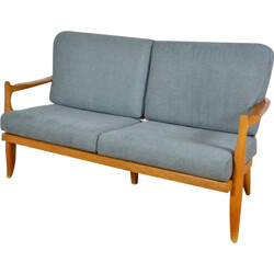 French Votre Maison sofa in oak and grey fabric, GUILLERME & CHAMBRON - 1970s