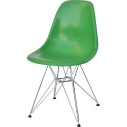 "Herman Miller ""DSR"" chair in green fiberglass and metal, Charles & Ray EAMES - 1970s"