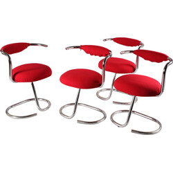 Set of 4 red chairs in chromed metal, Giotto STOPPINO - 1970s