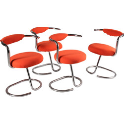 Set of 4 orange chairs in chromed metal, Giotto STOPPINO - 1970s