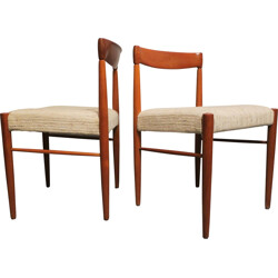 Pair of Danish Bramin chairs in teak and beige wool, Henry W. KLEIN - 1960s
