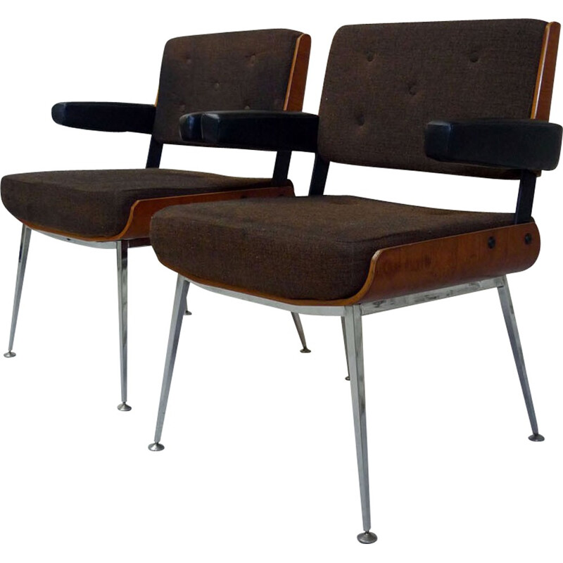 Pair of armchairs in fabric, Alain RICHARD - 1970s