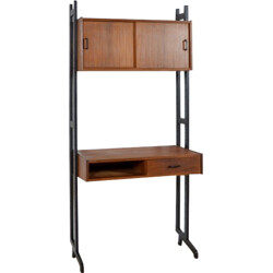 Simpla Lux desk in dark teak with cabinet - 1960s