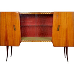 High Italian Bahut cabinet in rosewood and glass - 1950s