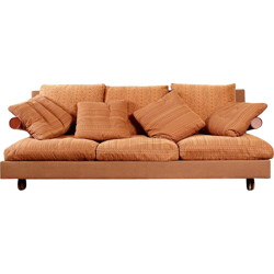 "B&B Italia ""Baisity"" 3-seater sofa in red leather, Antonio CITTERIO - 1980s"