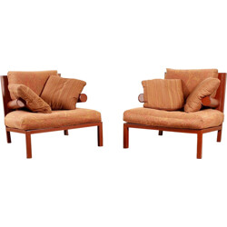 "Pair of B&B Italia ""Baisity"" armchairs in leather, Antonio CITTERIO - 1980s"