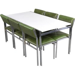 Pastoe dining set in green leatherette and metal, Cees BRAAKMAN - 1950s