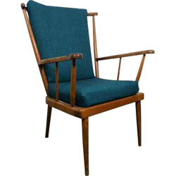 Vintage Baumann chair in wood and blue fabric - 1960s