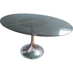 Table with tulip base in chrome and gray glass - 1970s