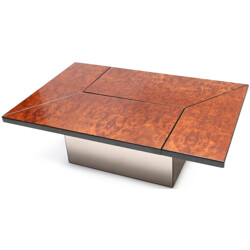 Coffee table in burlwood and smoked glass, Willy RIZZO - 1970s