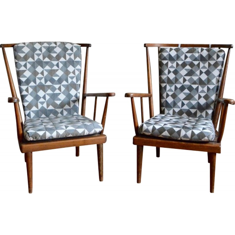 Pair Of Baumann Armchairs With Geometric Patterned Fabric   1950s