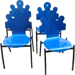 """Set of 4 Essaime """"Puzzle"""" chairs in beech and steel - 1990s"""
