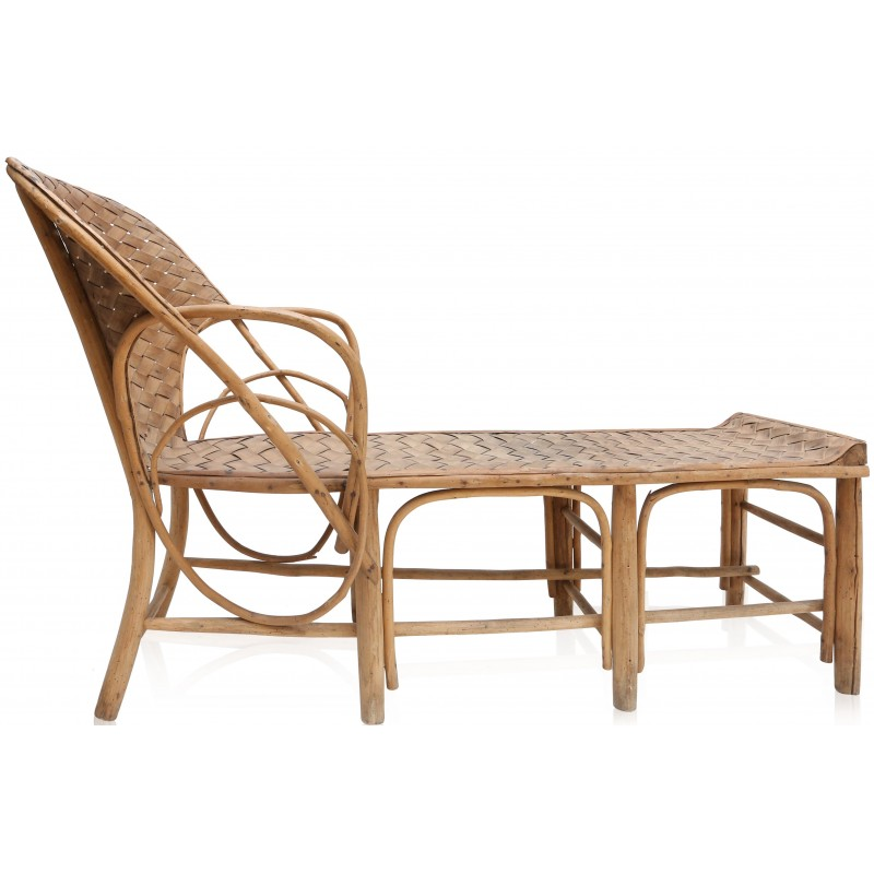 French Lounge Chair In Rattan   1960s