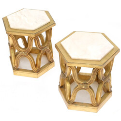 Pair of carved giltwood side tables in Calacatta marble - 1940s