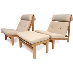 "Pair of Danish ""A Frame"" armchairs in teak with ottoman, Bernt PETERSEN - 1960s"