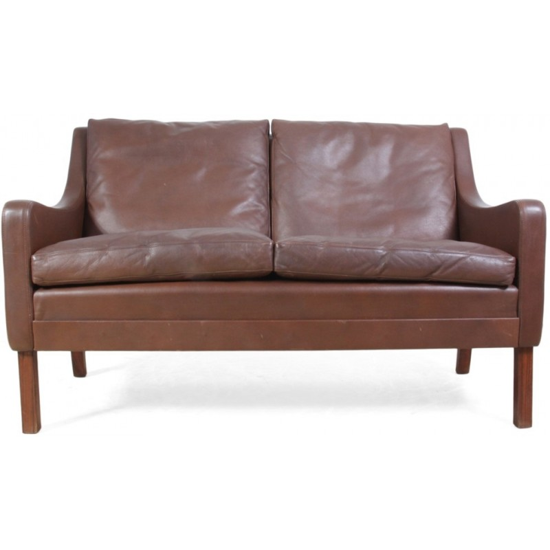 Danish 2 Seater Sofa In Dark Brown Leather And Rosewood 1960s
