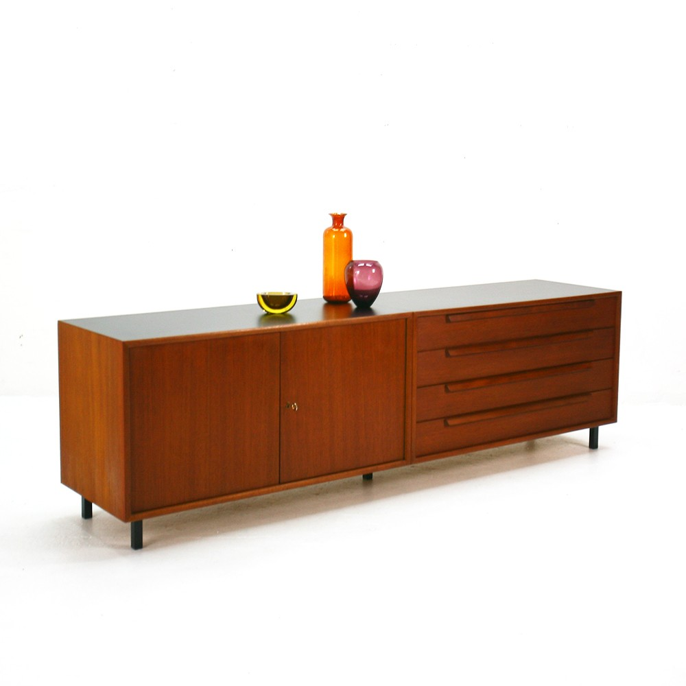 WK Moebel straight-lined teak sideboard - 1960s - Design ...