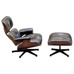 """""""Lounge chair"""" and its ottoman, Charles et Ray EAMES - 1965"""
