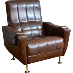 """Vintage """"Club"""" armchair in faux leather - 1960"""