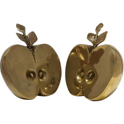 Pair of brass apples bookholder - 1970s