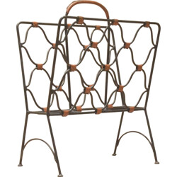 Magazine rack in metal and leather, Jacques ADNET - 1940s