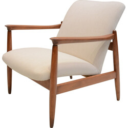 "Polish Wroclaw Ecrus ""GMF 64"" armchair in teak and antistain fabric - 1960s"