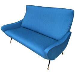 Blue Italian sofa in fabric and brass - 1950s