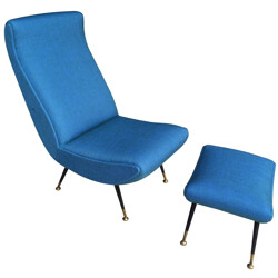 Italian armchair with its ottoman in blue fabric and brass - 1950s