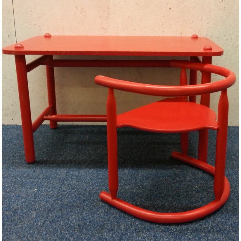 Set of ikea anna table and chair in red lacquered beed karin mobring 1960s design market - Table couture ikea ...