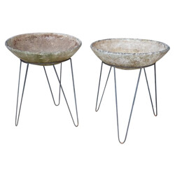Pair of flower pots in Eternit and metal, Willy GUHL 1950s