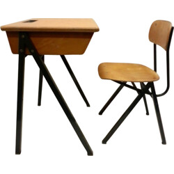 Set of Dutch school desk and chair in plywood - 1960s