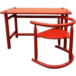 "Set of Ikea ""Anna"" table and chair in red lacquered beed, Karin MOBRING - 1960s"