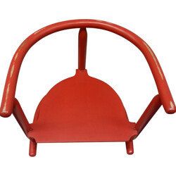 "Red Ikea ""Anna"" children's chair in beech wood, Karin MOBRING - 1960s"