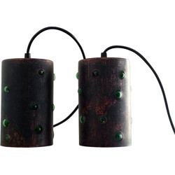Pair of Raak hanging lamps in copper and glass, Nanny Still MCKINNEY - 1960s