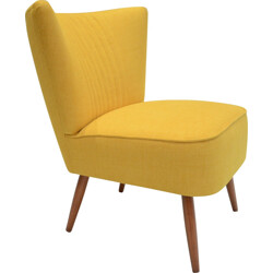 Cocktail chair in oak and yellow antistain fabric - 1950s