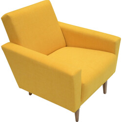 """Soviet """"Cube"""" armchair in yellow fabric and oak - 1960s"""