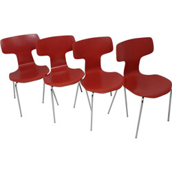 Set of 4 Fritz Hansen dining chairs in red wood, Arne JACOBSEN - 1960s