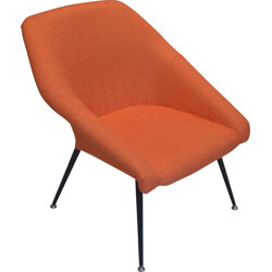 Orange cocktail chair in metal and fabric - 1970s