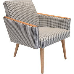 Mid-century armchair in oak and fabric with houndstooth motif - 1960s