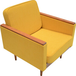 Square Soviet armchair in oak and mustard yellow fabric - 1960s