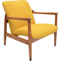 """Yellow """"Wroclaw"""" armchair in oak and antistain fabric - 1960s"""
